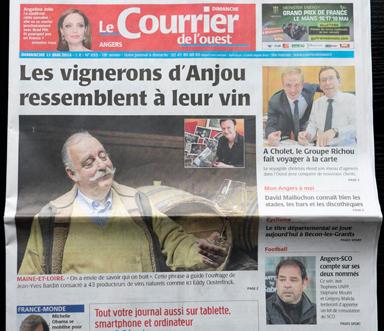 Vignerons d'Anjou - article Courrier de l'Ouest, à la une, Jean-Yves Bardin auteur du livre