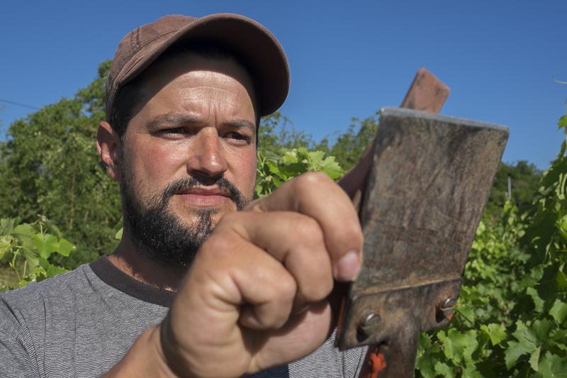 gueules de vignerons, vigneron bio, vignerons d'Anjou, winemaker, Jean-Yves bardin photographe Gueules de vignerons, portraits de vignerons, vigneron bio Anjou, Sylvain Martinez, Vin de Loire, vin bio, Vigneron Martigné Briand