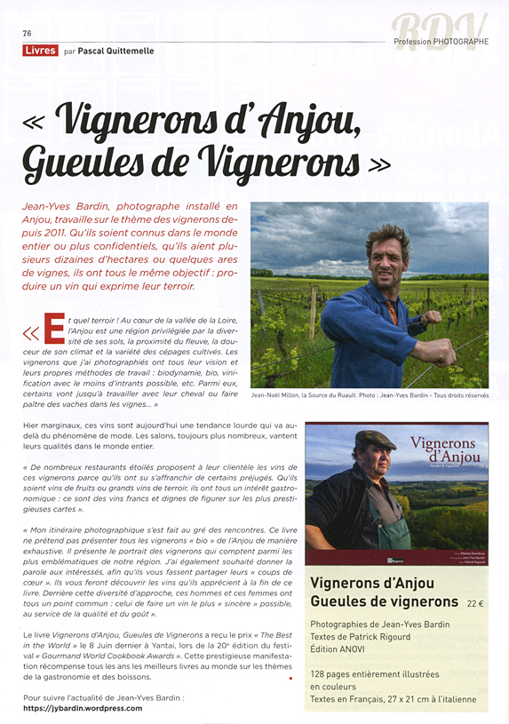 profession photographe - Vignerons d'Anjou, Gueules de vignerons, Jean-Yves Bardin photographe, livre Gueules de vignerons, photographies